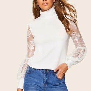 Tops - White Lace Puff sleeve High Neck Top - Woman's